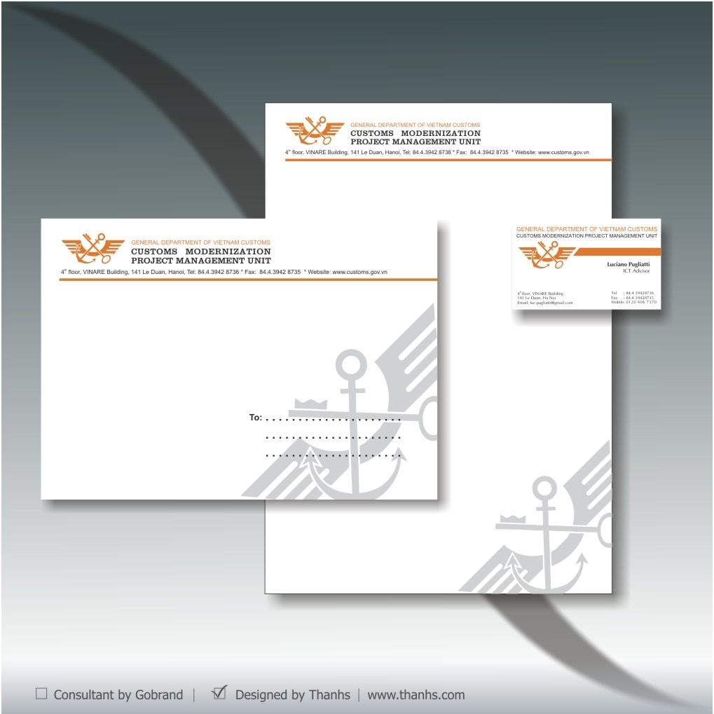 Bộ ấn phẩm văn phòng dự án Hiện đại hoá Hải quan do Thanhs thiết kế và in