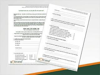 Bản mô tả thông tin phục vụ thiết kế Khách hàng được yêu cầu cung cấp