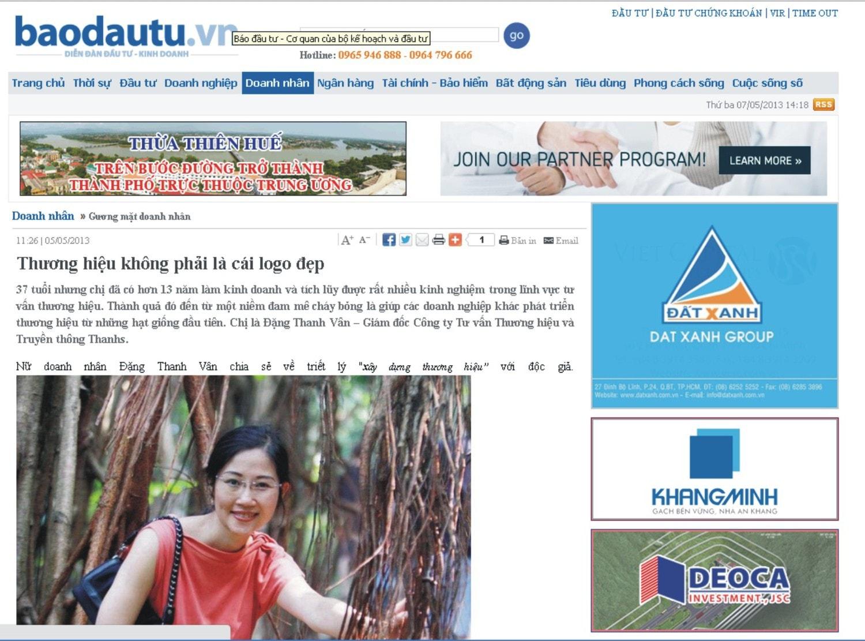 Bài phỏng vấn ThS. Đặng Thanh Vân về chiến lược xây dựng thương hiệu đăng trên báo Đầu tư