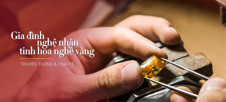 Gia đình nghệ nhân - Tinh hoa nghề vàng - Thông điệp định vị thương hiệu Bảo Tín Mạnh Hải do công ty Thanhs tư vấn và thiết kế nhận diện mới.