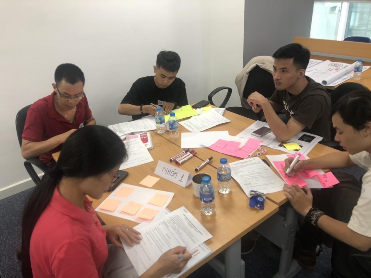 Các thành viên chia nhau task để làm rồi cùng thảo luận